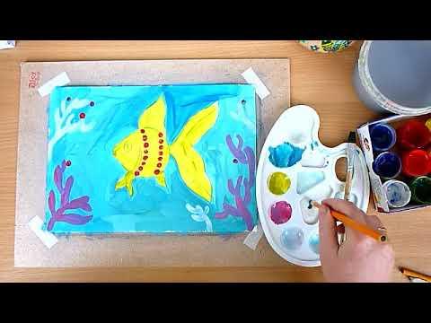 2 клас. Мистецтво. Малюємо рибку в акваріумі гуашшю та прикрашаємо цятками