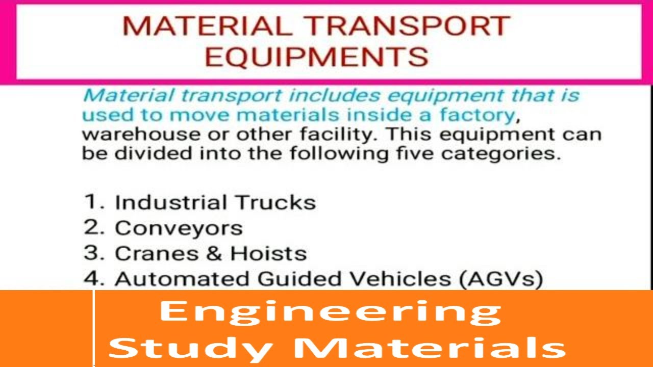 Material Handling Equipment Material Handling System Ppt Engineering Study Materials Youtube