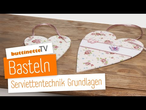 buttinette tv grundlagen serviettentechnik tutorial. Black Bedroom Furniture Sets. Home Design Ideas