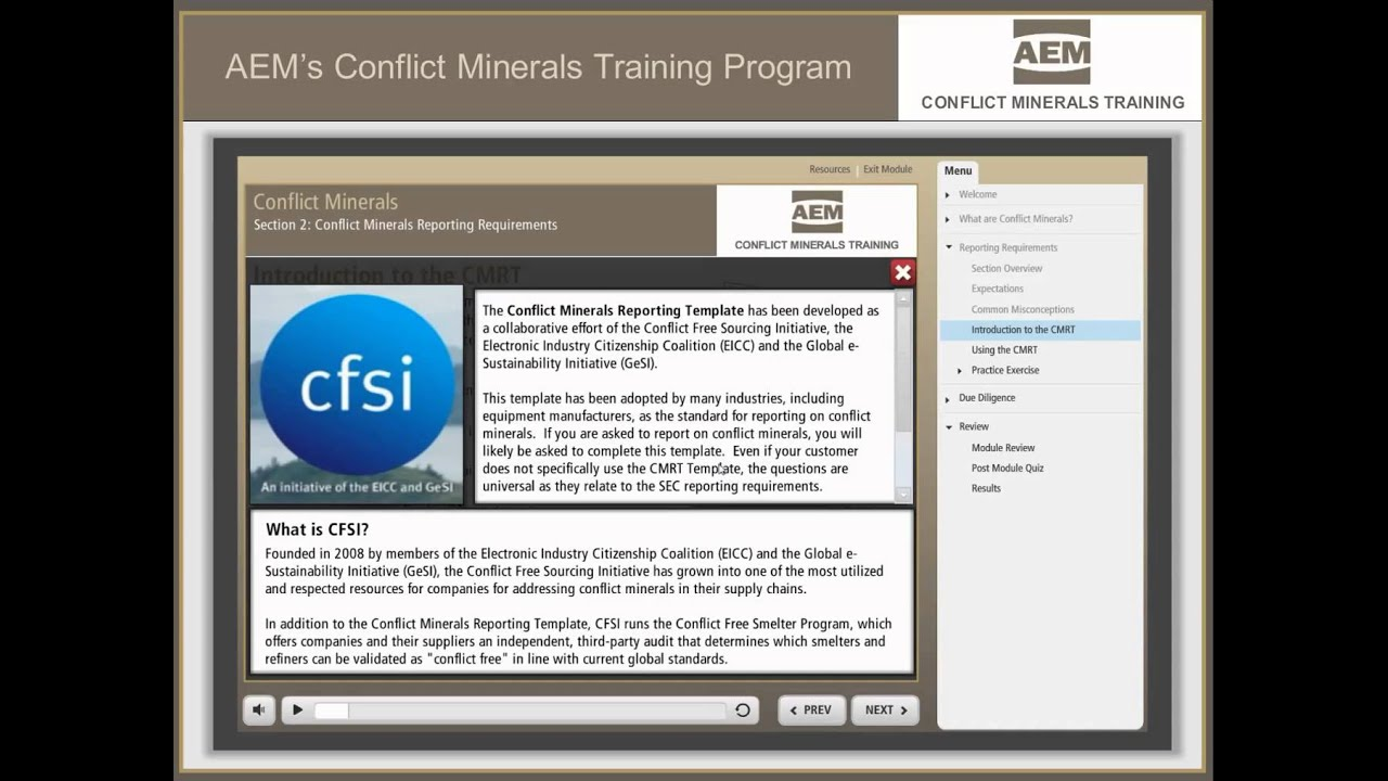 Aems Conflict Minerals Training Program Youtube