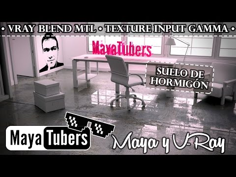 Material Hormigón Pulido - VRay Blend, Texture Input Gamma con Autodesk Maya - MayaTubers