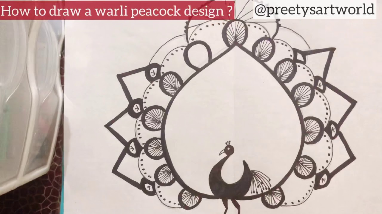 How To Draw Warli Peacock Design Youtube