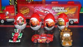 Pixar Cars, 4 Kinder Surprise Eggs delivered by Mack to Radiator Springs for Lightning McQueen, Mate