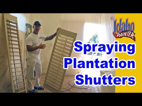 Painting Plantation Shutters.  How To Spray Interior Wood Shutters.