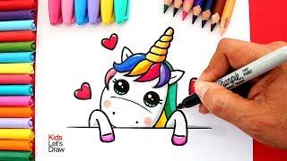 Cómo dibujar un UNICORNIO Kawaii por SAN VALENTÍN | How to Draw a Unicorn Valentine