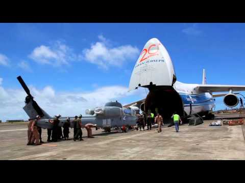 US Marines load a Russian Antonov An-124 with Helicopters