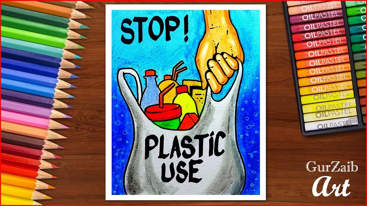 How to draw stop plastic pollution poster chart drawing for school students very easy