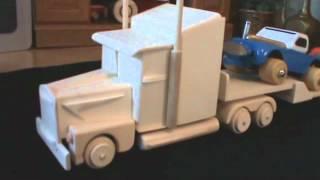 Wood Semi Tractor Trailer Handmade