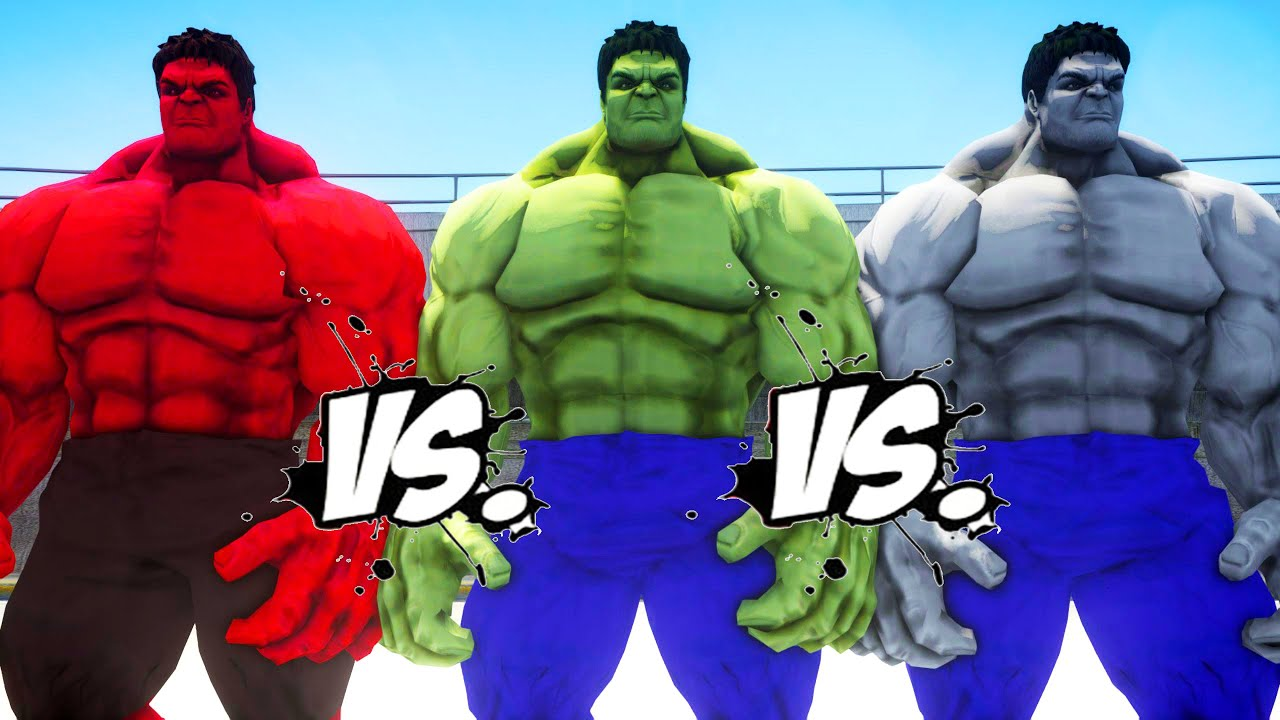 HULK vs RED HULK vs GREY HULK - Epic Battle - YouTube
