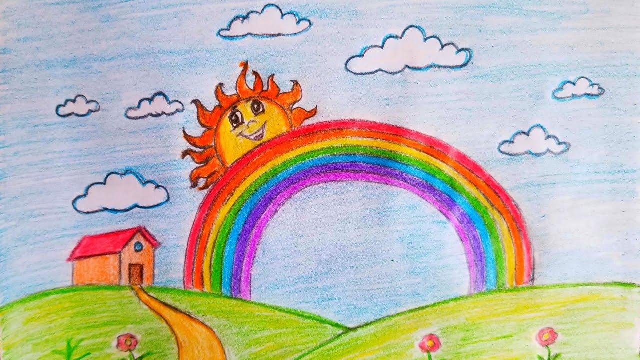 قوس قزح رسم اطفال صغار