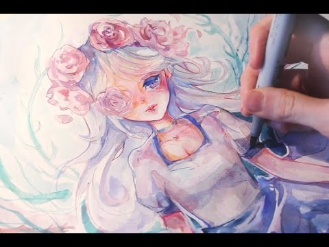 Manga watercolor Speedpainting - No Lineart challenge