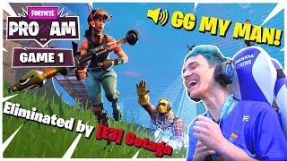 Fortnite Celebrity Pro-Am 2018 | GAME 1 [SOLO] | PRIZE POOL $3,000,000| NINJA GETS KILLED BY GOTAGA!