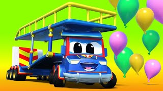 Truck videos for kids -  VALENTINE'S DAY : Super CARRIER TRUCK saves the BALLOON DROP - Super Truck