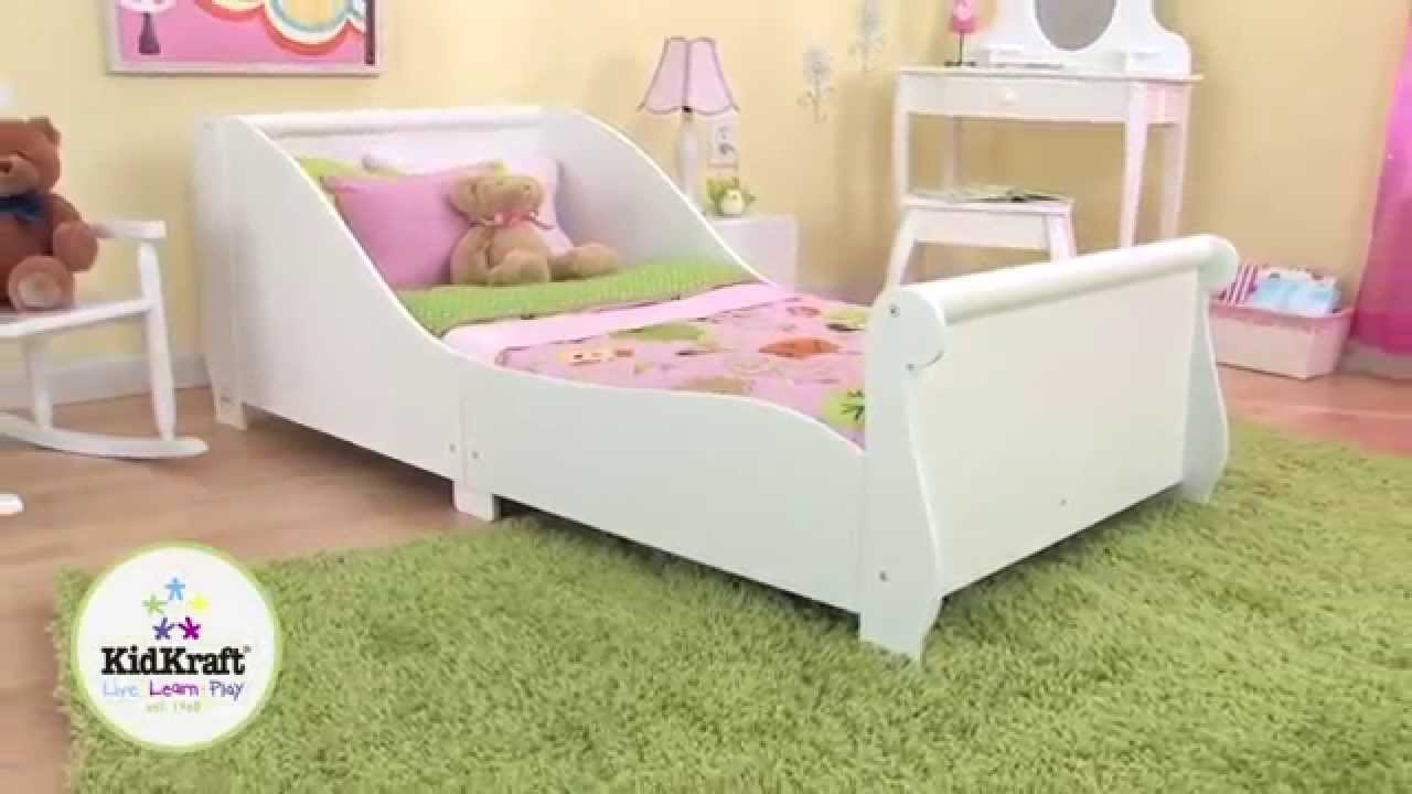 Lit en bois blanc pour enfant kidkraft youtube for Photo de lit pour fille