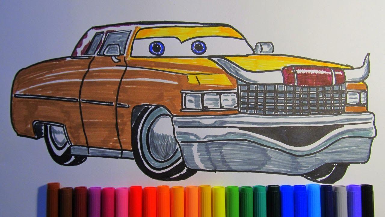 How to draw TEX DINOCO Cadillac Coupe de Ville 1975 Disney Pixar CARS 3 2017 #1