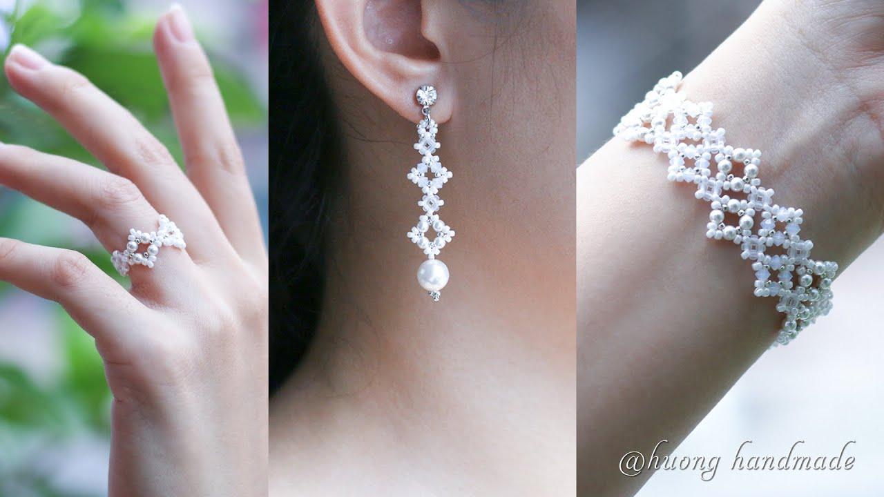 DIY elegant bridal jewelry set. Beading tutorial. Bracelet, earrings & ring