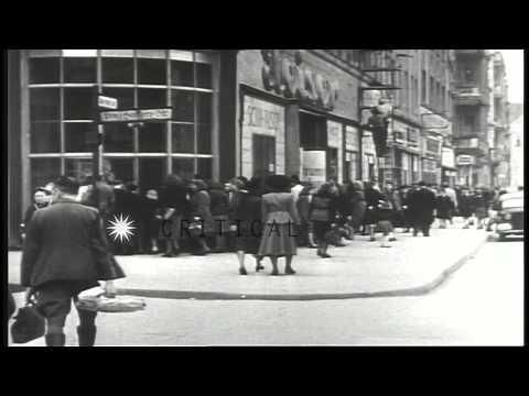 German people on street during post-World War II blockade of Berlin, Germany. HD Stock Footage