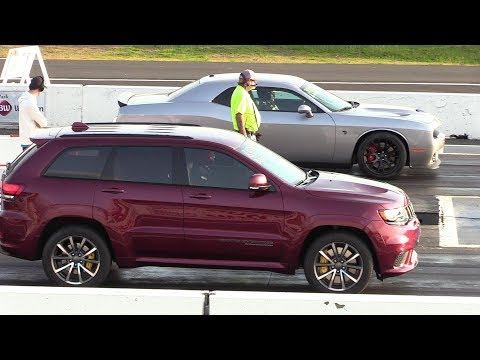 As fast as Hellcat ?? 2018 Jeep Trackhawk vs Hellcat Challenger – drag race