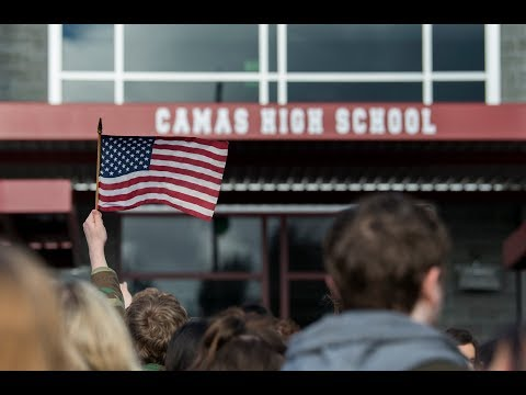 Camas High School students walk out of class to protest gun violence