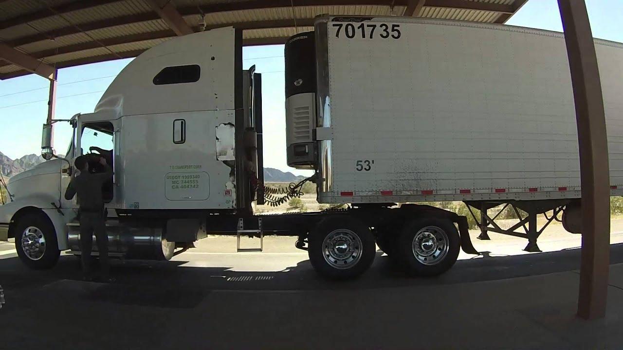 Us border patrol questions semi truck driver