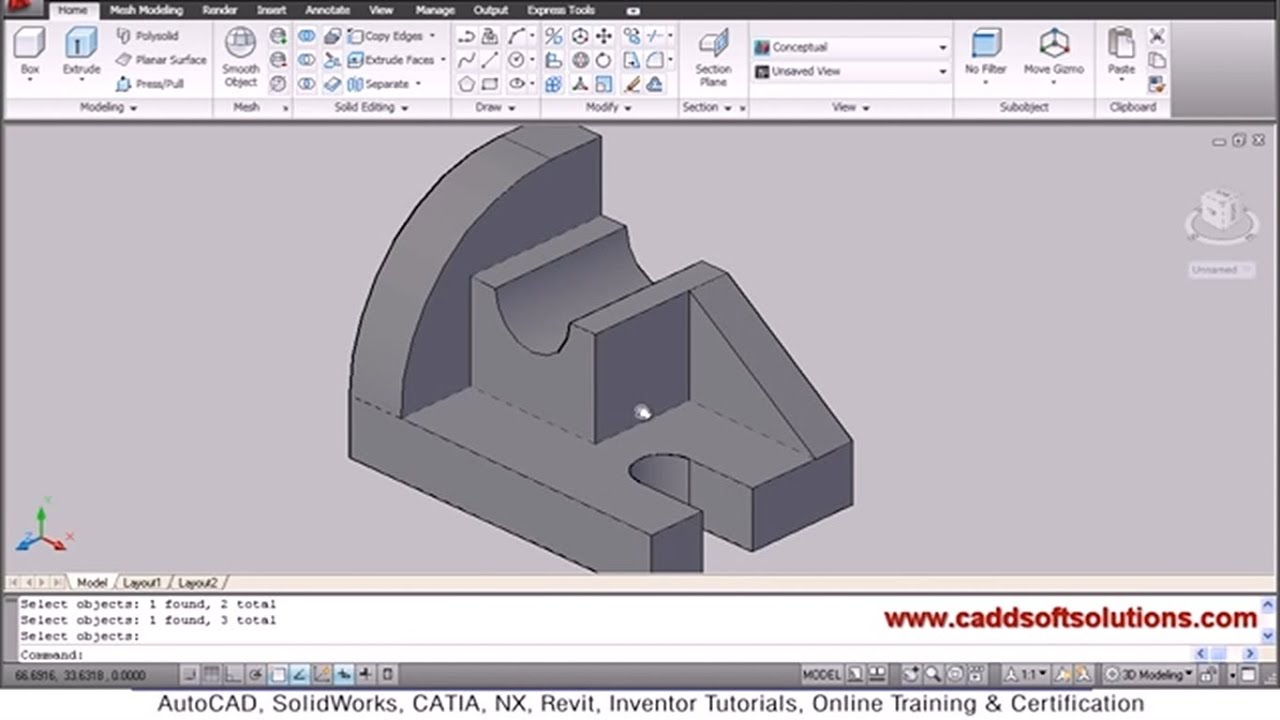 ... 3D Objects Modeling Tutorial for Beginners | AutoCAD 2010 - YouTube