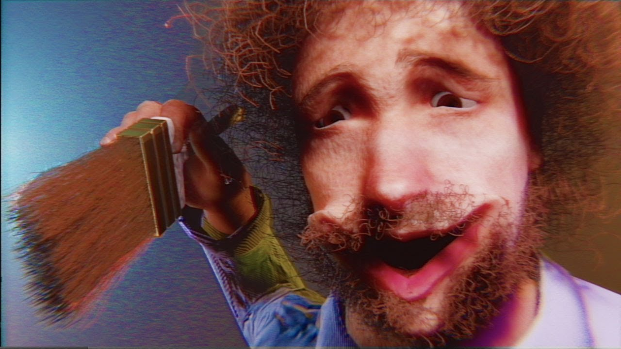 bob ross makes a tiny mistake and then loses it