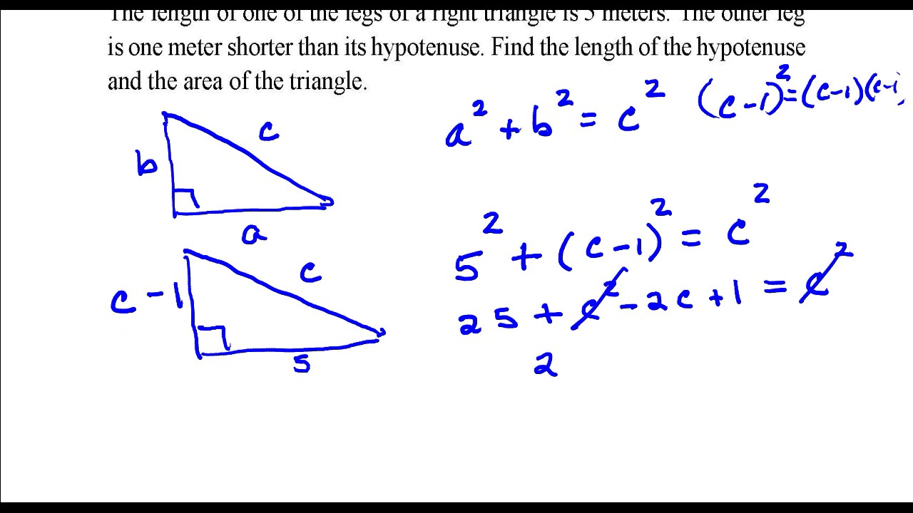 Find The Length Of The Hypotenuse And The Area Of The Triangle Youtube