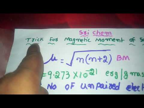 Trick for Magnetic  moment_ (d- block elements _2)