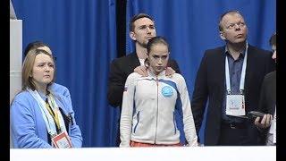 Алина Загитова готовится к выступлению ПП. Чемпионат Европы 2018