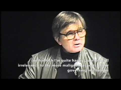 "Robert Coover speaks at the International Writers Center conference ""The Writer in Politics"""