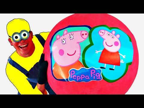 Peppa Pig GIANT EGG SURPRISE OPENING - Peppa Pig Toys - Worlds Biggest Surprise Egg Unboxing Minions