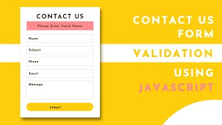 Contact Us Form Validation Using Javascript | Form Validation In Javascript