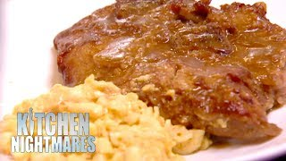 Gordon Served Dry Pork Chop & Mushy Mac & Cheese | Kitchen Nightmares