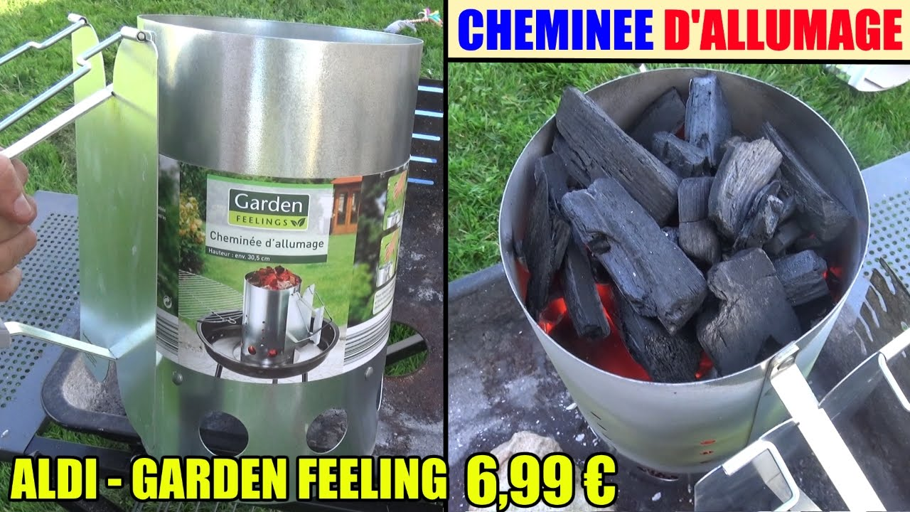 cheminée allumage aldi garden feelings chimney starter - youtube