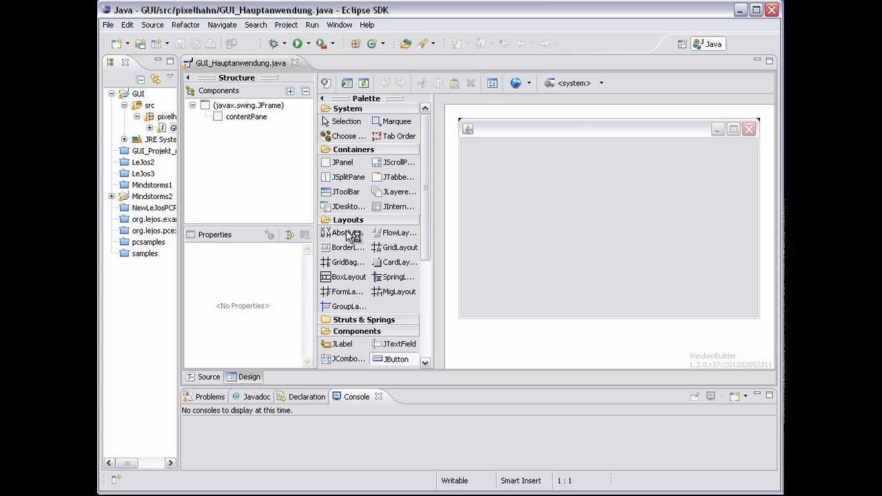 Eclipse tutorial gui anwendungen mit windowbuilder der for Windowbuilder