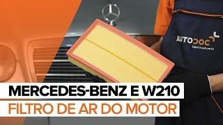 Como mudar Filtro de Ar MERCEDES-BENZ E-CLASS (W210) - vídeo grátis online