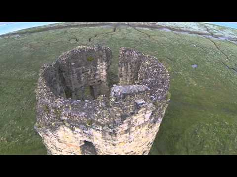 Aerial video of Flint castle Flintshire, North Wales
