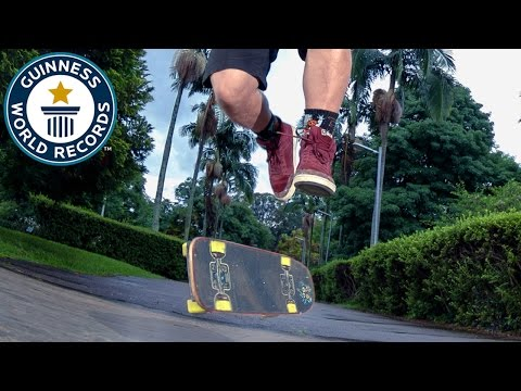 Most skateboard rail flip to rail in one minute - Guinness World Records