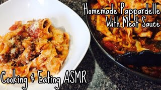 Homemade Pappardelle with Meat Sauce Recipe | Cooking & Eating ASMR
