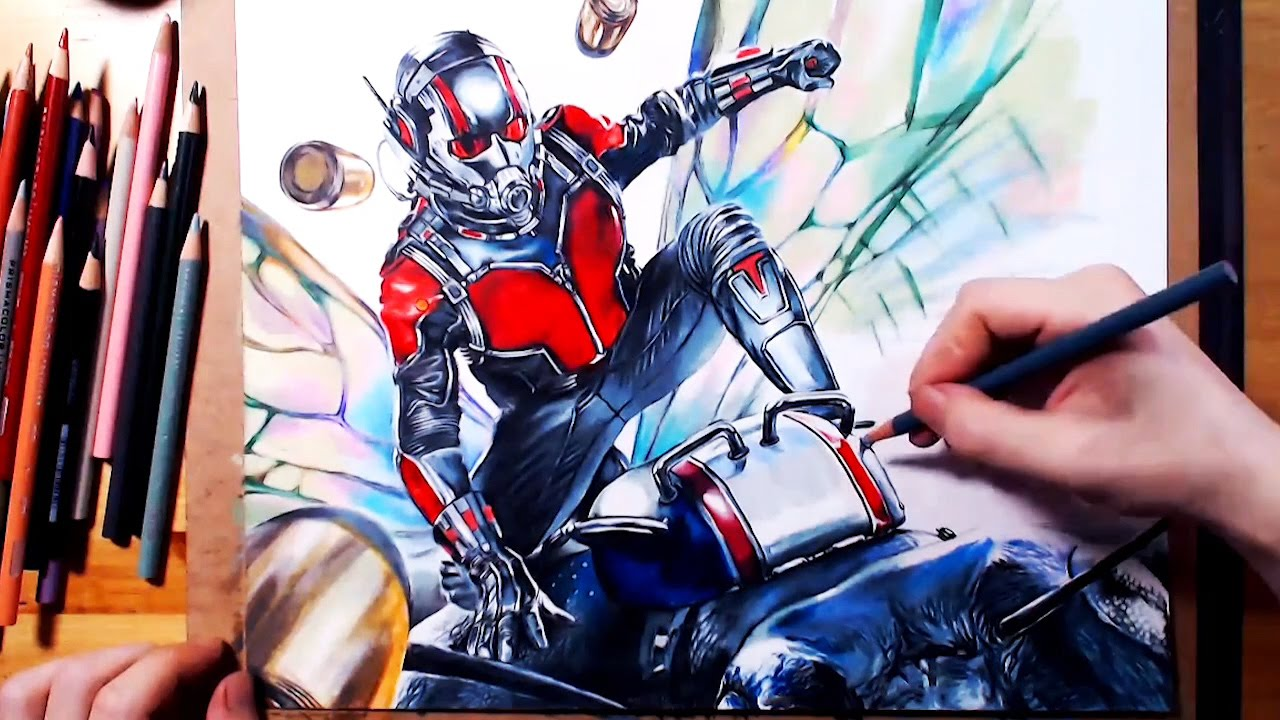Drawing Ant Man Scott Lang 앤트맨 그리기 Using Colored Pencil