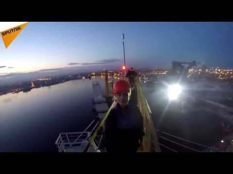 No Fear: Daredevils Climb 125 Meter Cable Bridge in St. Petersburg