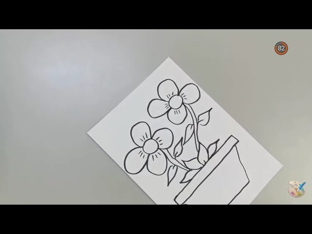 خطوات رسم سلة ورد