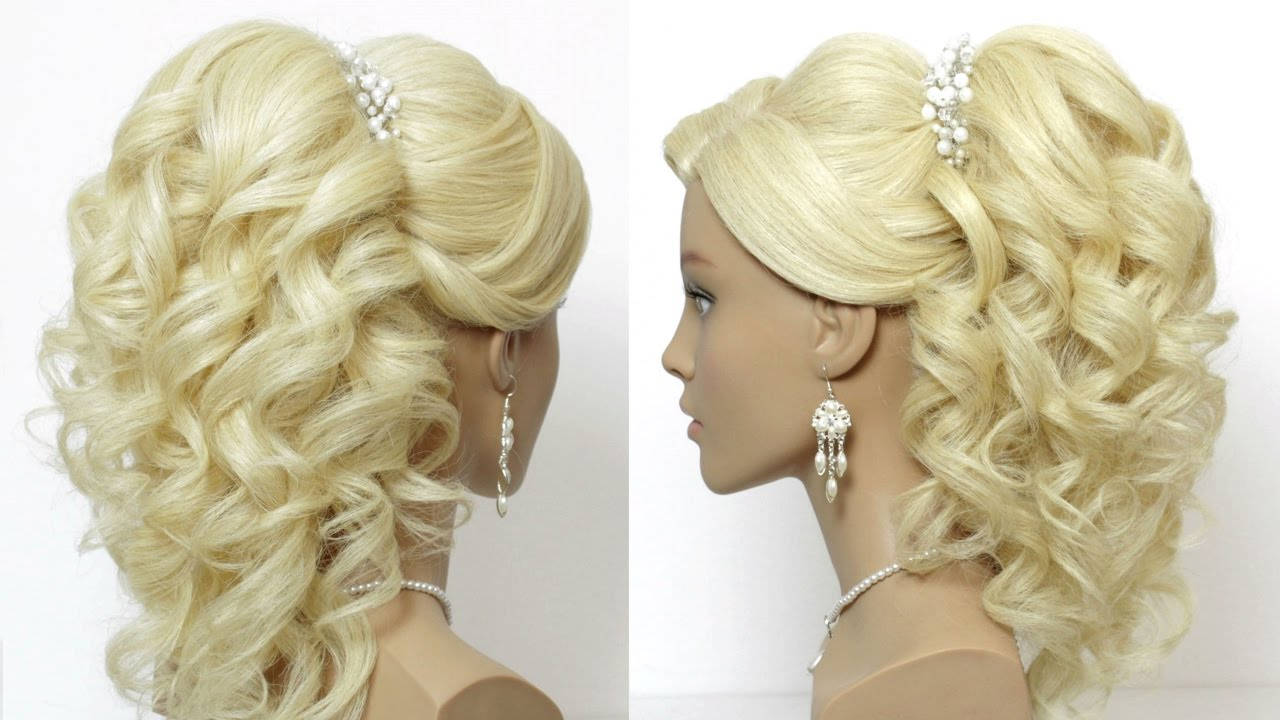 Wedding prom hairstyle for long hair with curls. Tutorial - YouTube