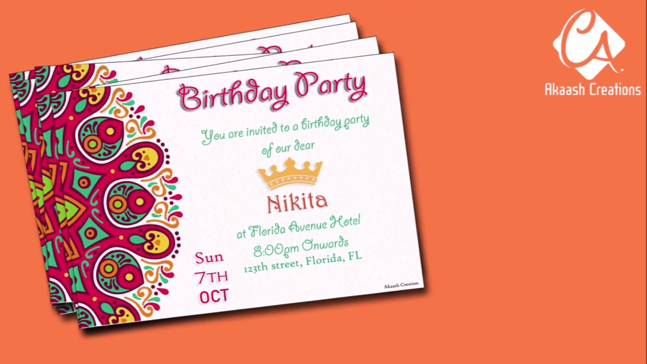 making of birthday invitation card with new design