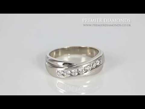 7 Stone Round Brilliant Cut 0.45 Carat Diamond Crossover Ring - PD140.45