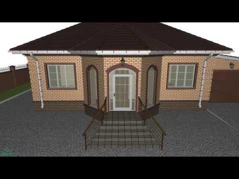 Проект одноэтажного дома «Эркер» с гаражом   B-214-ТП