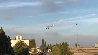 L'elicottero in sorvolo su Santa Croce di Magliano