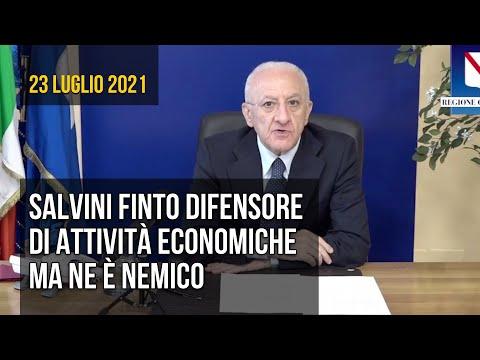De Luca: Salvini finge di difendere attività economiche ma ne è nemico