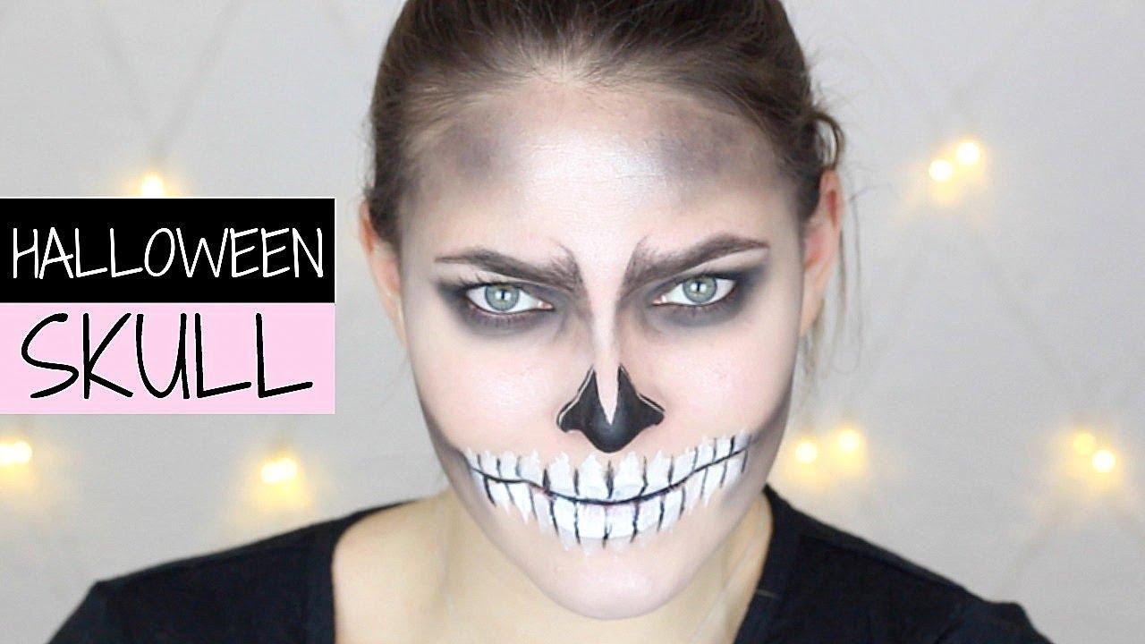Last Minute Halloween Skull Makeup Skelett Schminken Pia