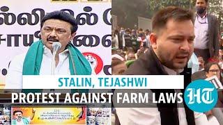 Tejashwi demands farm laws' rollback; DMK chief questions TN CM's silence